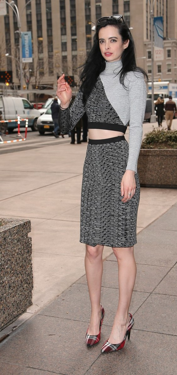 Krysten Ritter matches her monochromatic tones for Sirius Radio